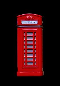 Fototapeta z budką telefoniczną